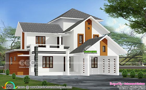Sloping roof 3000 sq-ft house with 4 bedrooms