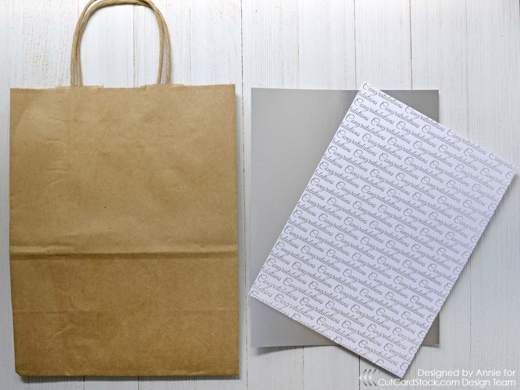 Ways to decorate gift bags - Start By Trimming A Piece Of Foiled Patterned Paper And Silver Bright Foil Cardstock To Fit The Front Of Your Brown Bag Shopping Bag Since I M Decorating A
