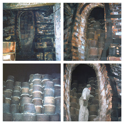 Longton Rescuing saggars from the 1939 bottle oven at Garfield Works Longton, prior to demolition. Images of the oven full of empty saggars with Rodney Hampson (volunteer Gladstone Pottery Museum) starting to empty the oven  Photos: Terry Woolliscroft Collection   Date: Nov 1974