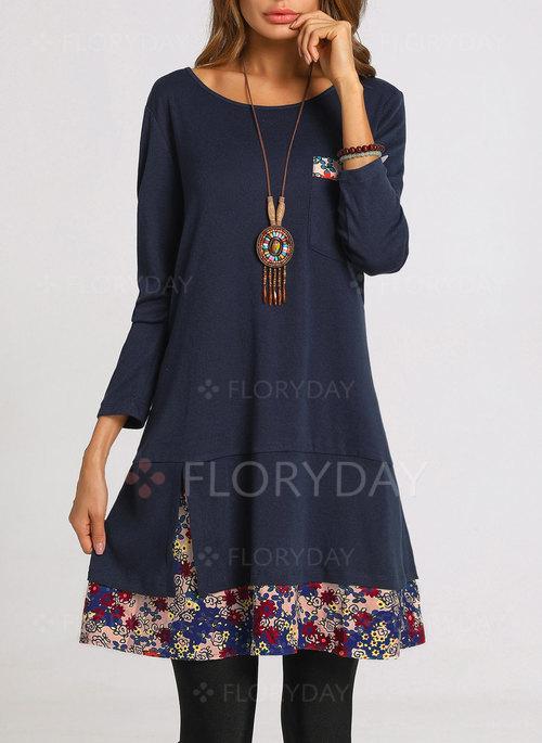 Color Block Pockets Long Sleeve Above Knee A-line Dress