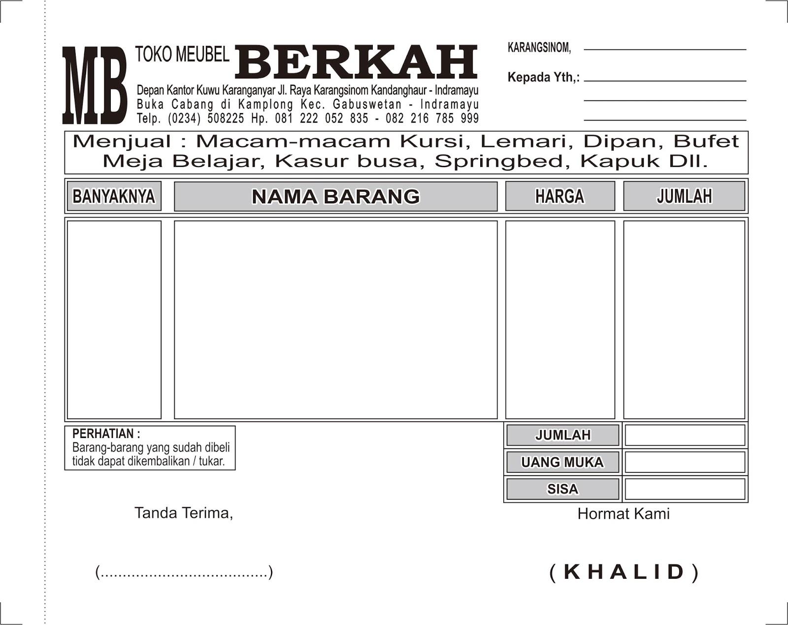 Cetak Nota Toko Meubel Berkah Alfi Percetakan Dan Digital