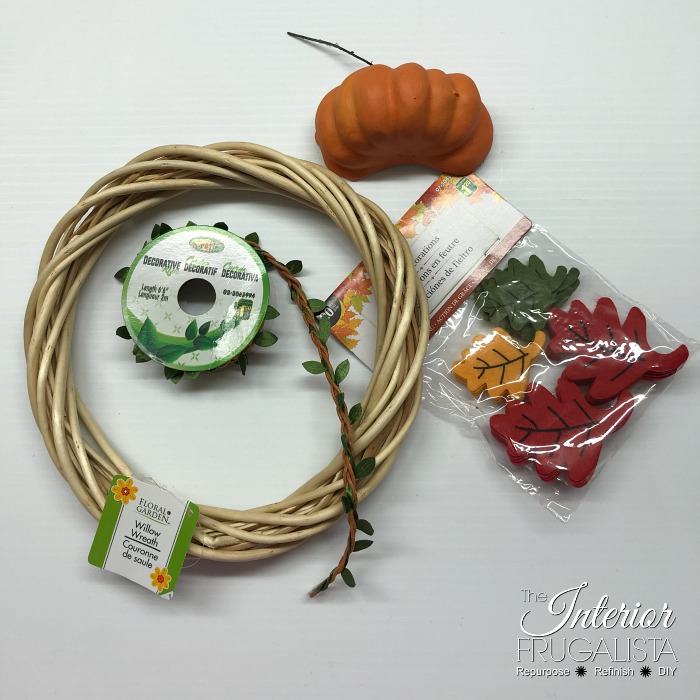 DIY Fall Dollar Store Wreath Supplies