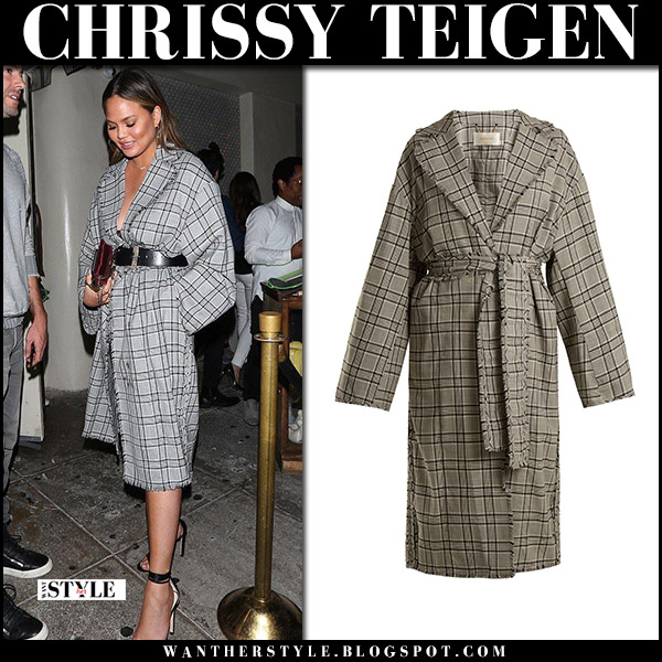 Chrissy Teigen in grey plaid zimmermann coat with velvet bag prada october 18 2017 street fashion