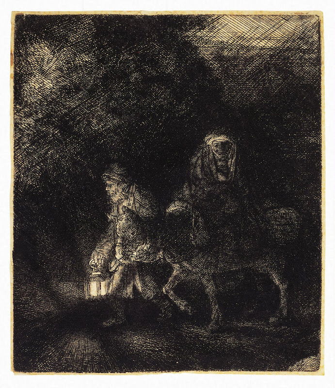 The Flight into Egypt by Rembrandt Harmenszoon van Rijn - Christianity, Religious Art Prints from Hermitage Museum