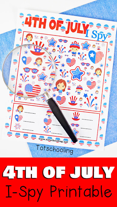 FREE printable I Spy game for 4th of July/Independence Day fun. Perfect no-prep counting activity for preschool and kindergarten. Kids will love finding the adorable patriotic images that come in different sizes, making it a challenging visual discrimination activity. Features fireworks, flags and more!