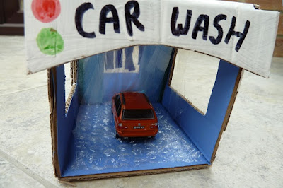 How to make a cardboard car wash toy