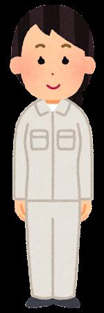 白の作業着を着た人のイラスト(女性)