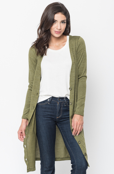 Shop for Olive Everyday Maxi Cardigan Front Pockets and Full Length Sleeves Online - $44 - on caralase.com