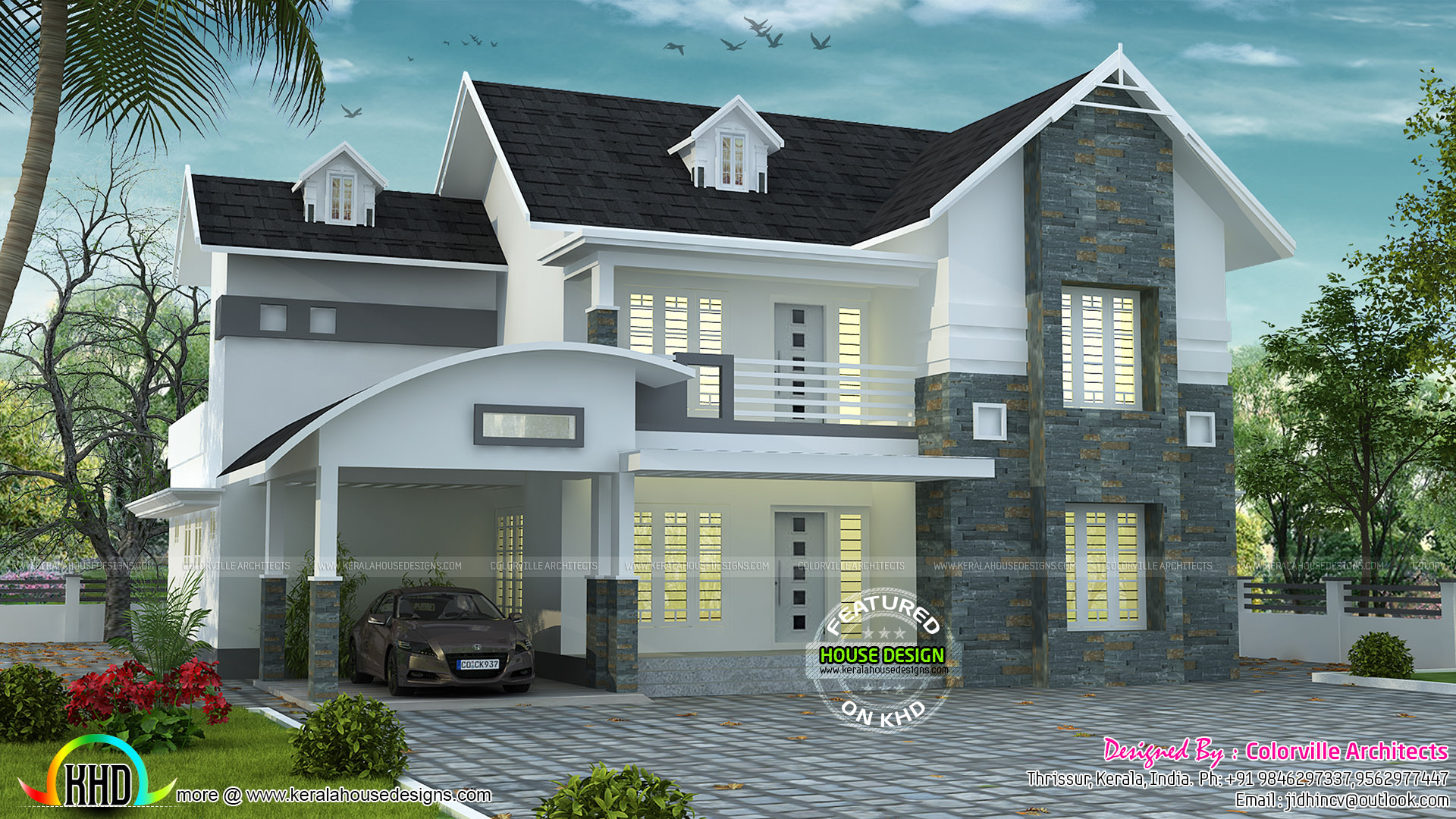 Curved sloped roof villa kerala home design and floor for Curved roof house plans