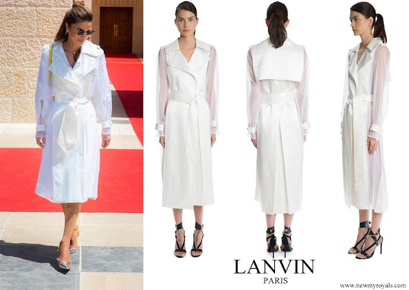 Queen Rania wore Lanvin Lacquered Twill & Organza Long Trench Coat