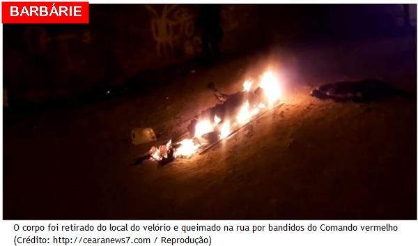 Bandidos de facção criminosa invadem velório, arrastaram o caixão até o meio da rua e tocam fogo no cadáver