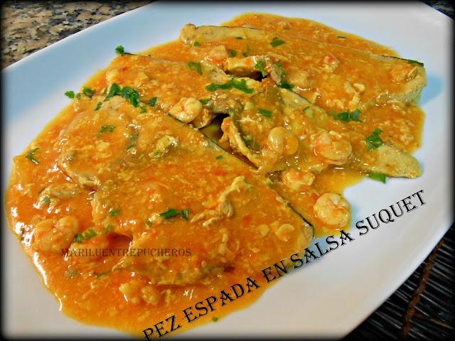 Maril entre pucheros pez espada en salsa suquet for Pez espada en salsa de almendras