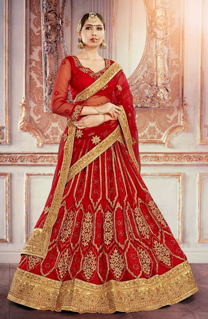 Red Embroidered Lehenga For An Indian Bride