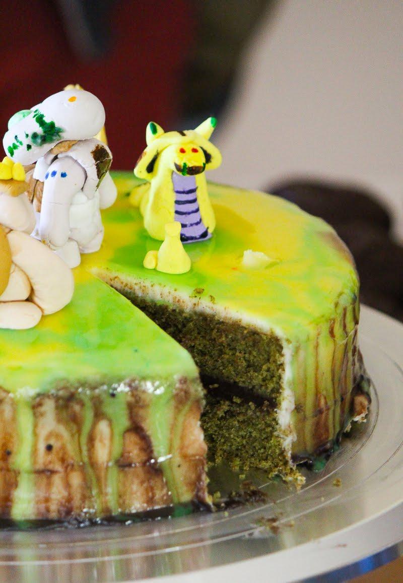 Dota 2 Dark Rift mirror glaze chocolate with dark chocolate ganache and matcha green tea cake.