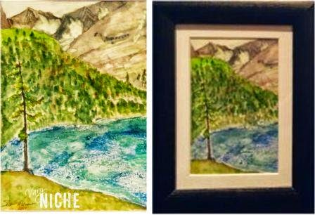 Watercolor of a mountain lake by Shari Monner, VaryNiche.com