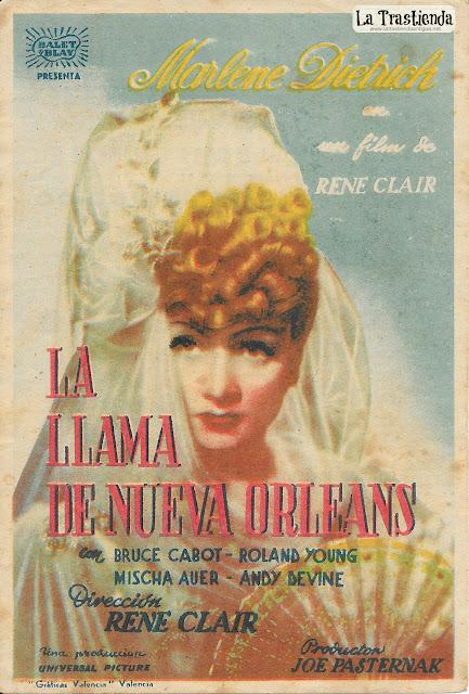 La Llama de Nueva Orleans - Programa de Mano - Marlene Dietrich - Bruce Cabot