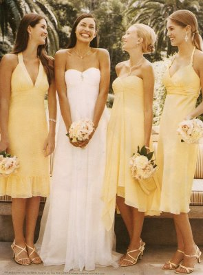 Bridesmaids Gowns Pastel Yellow Bridesmaids