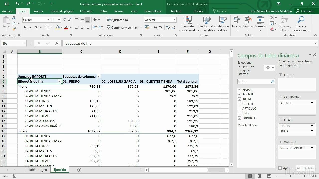 insertar campos y elementos calculados Excel 2016 tablas dinámicas V2B