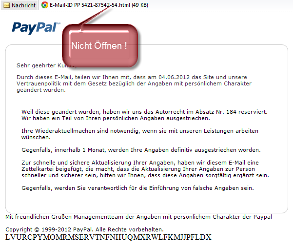 Paypal Betrugs Email