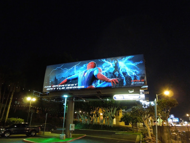 Amazing Spider-man 2 electroluminescent billboard dark Sunset Strip