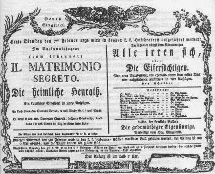 Affiche du Matrimonio Segreto de Cimarosa (Vienne, 1792)