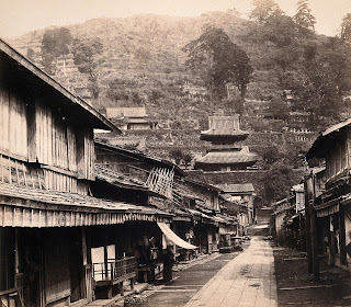 A street scene in Nagasaki in Japan in around 1868