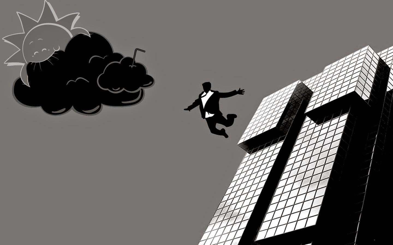 hombre tirándose edificio