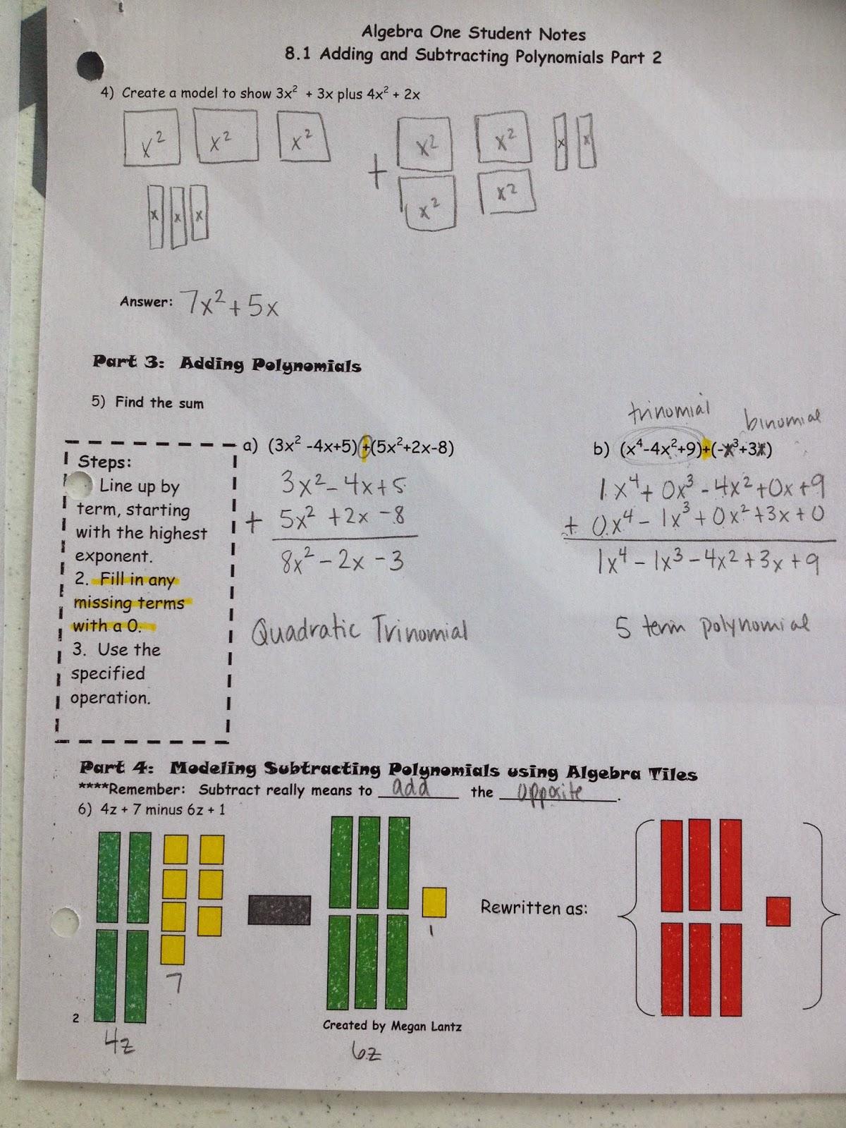 Making Mathematics Magical Adding Amp Subtracting Polynomials