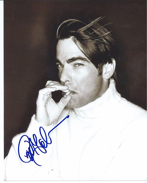peter gallagher autographed black and white photo smoking