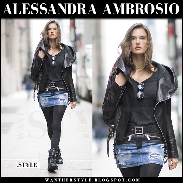 Alessandra Ambrosio in leather jacket, denim mini dsquared2 skirt and black ankle boots what she wore march 2017