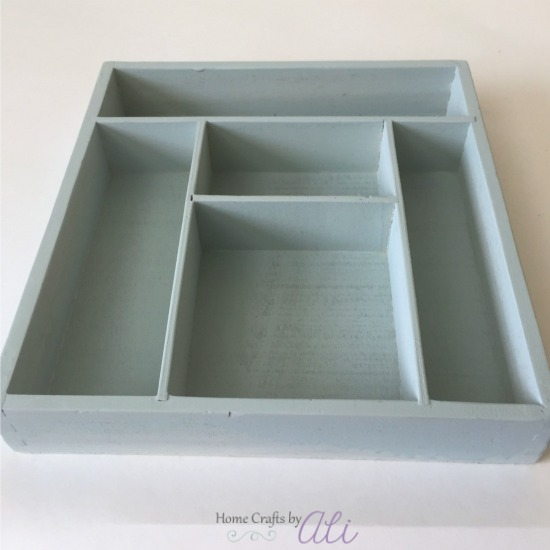 Serenity Blue Rustoleum Spray Chalk paint on drawer organizer