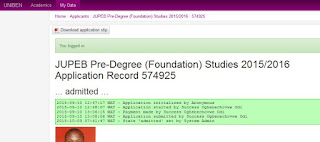 uniben jupeb foundation result