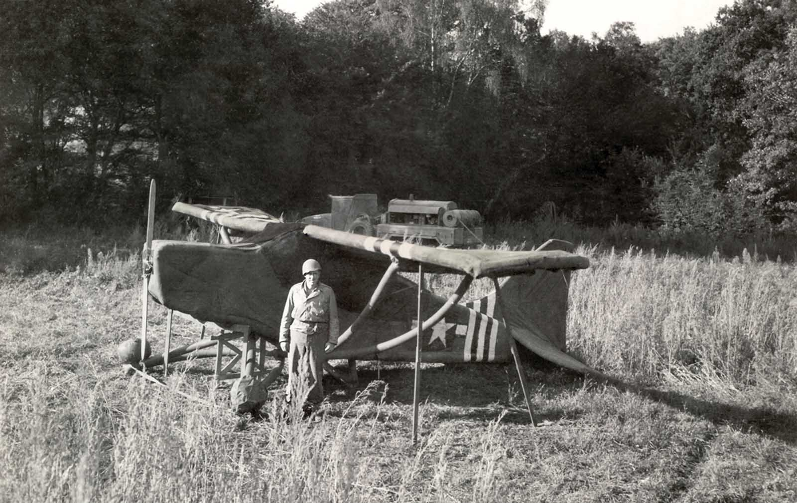 An inflated rubber L-5 reconnaissance plane used by the Ghost Army at one of the last operations on the western border of Germany. Their last performance, Operation Viersen, successfully fooled German forces into converging to defend a point on the Rhine miles away from the actual attack.