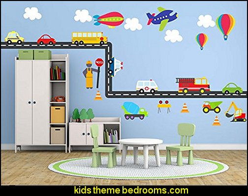 Wall Fabric Peel & Stick Decal City Transportation System, Construction Set, Cars, School bus, Fire truck, Plane