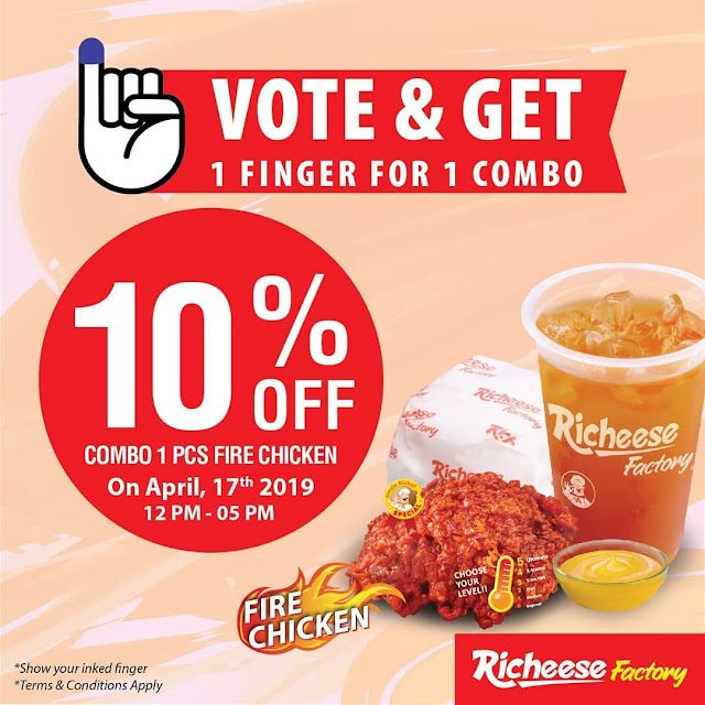#RicheeseFactory - #Promo Vote & Get 10% Diskon Combo 1 Fire Chicken (17 April 2019)