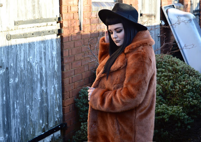 ASOS orange faux fur coat