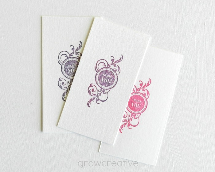 mini thank you note cards on watercolor paper