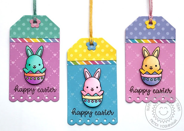 Sunny Studio Stamps: Chubby Bunny Easter Gift Tags (using Build-A-Tag 2 Dies, Happy Thoughts Stamps, Flirty Flowers, Dots & Stripes Pastels and Spring Sunburst 6x6 Paper)