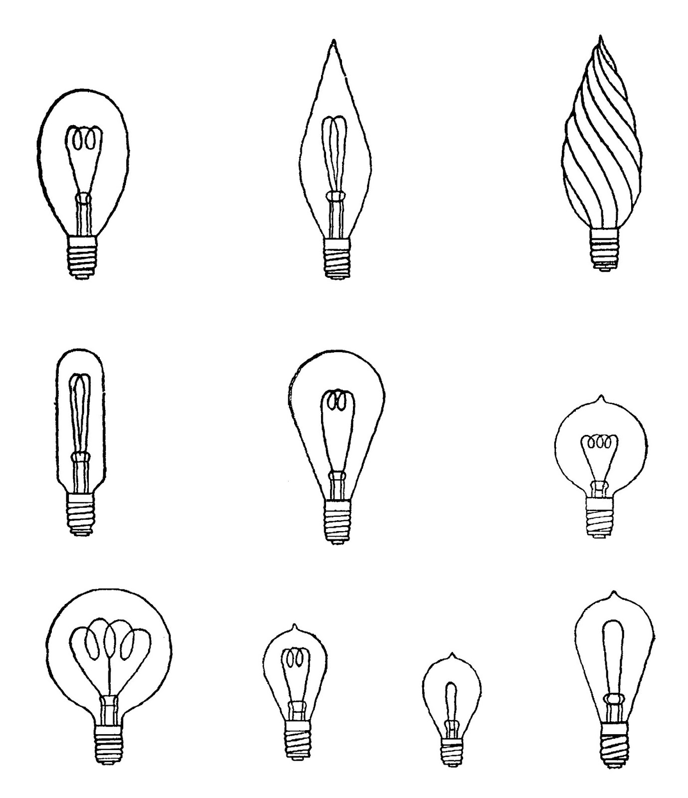 graphic about Light Bulb Printable called Electronic Stamp Style: No cost Collage Sheet Printable Basic