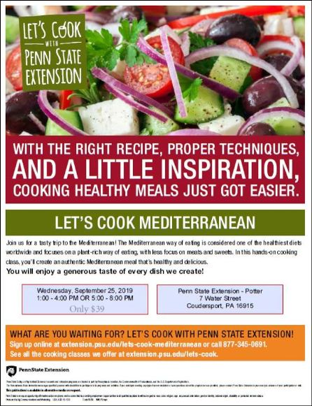 "9-25 Penn State Extension ""Let's Cook Mediterranean"" Class"