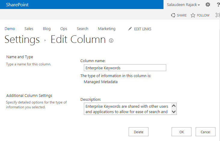sharepoint remove enterprise keywords column