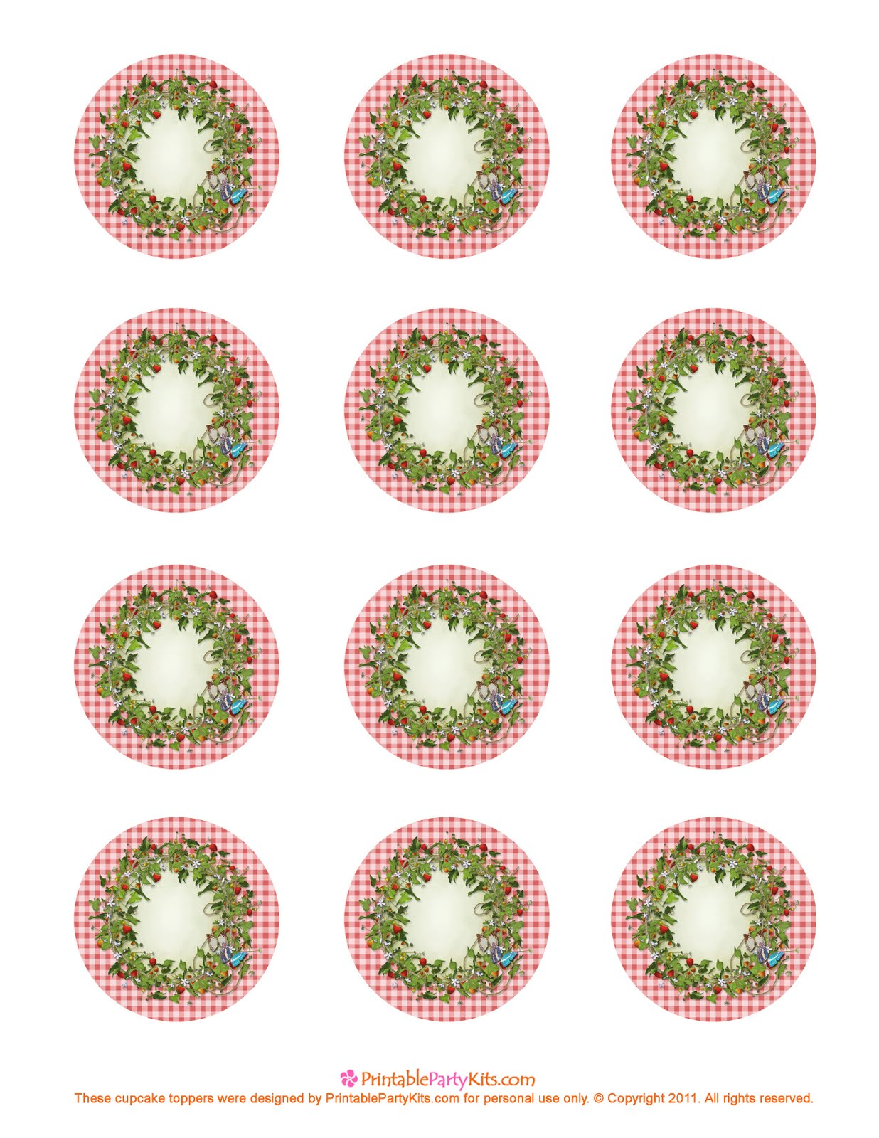 free printable strawberry cupcake toppers
