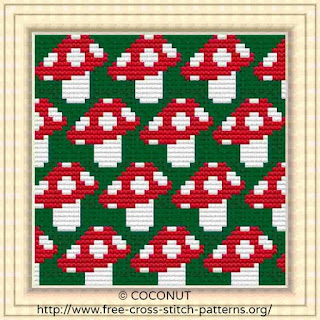 Mushroom, Pattern for Coasters, Free and easy printable cross stitch pattern