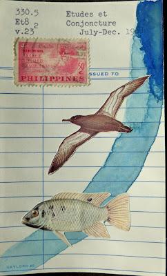 library card Fluxus Dada mail art fish bird seagull postage stamp collage