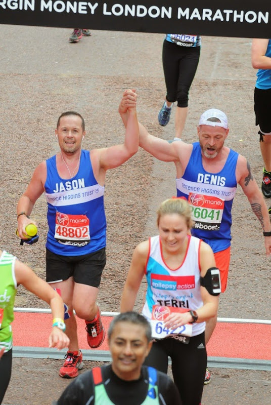 2015 London Marathon Finish Line Terrence Higgins Trust charity runners