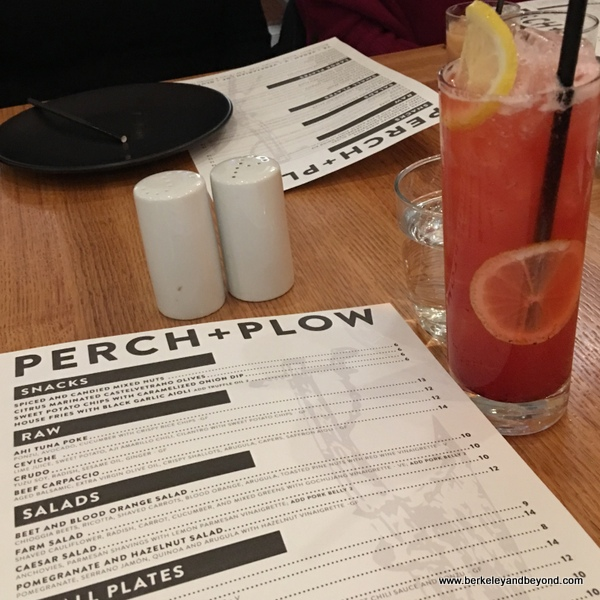 menu + Pink Lady mocktail Perch+Plow on Courthouse Square in Santa Rosa, California