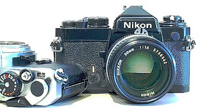 Nikon FE, in black and chrome