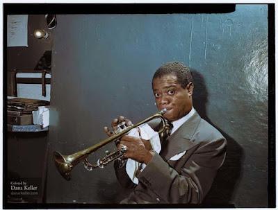 Louis Armstrong foto retocada a color