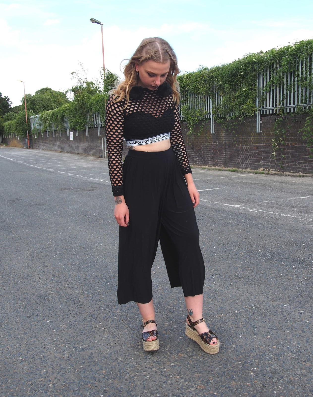 black pleated culottes, summer autumn night out outfit, choker, pom pom earrings, back to front french braids, mesh crop top, balconette bralette, o ring choker, grunge ootn 1