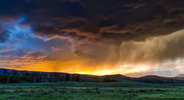 a panorama of sunset at Yellowstone National Park